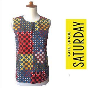 Kate Spade Saturday Colorful Geometric Print Top